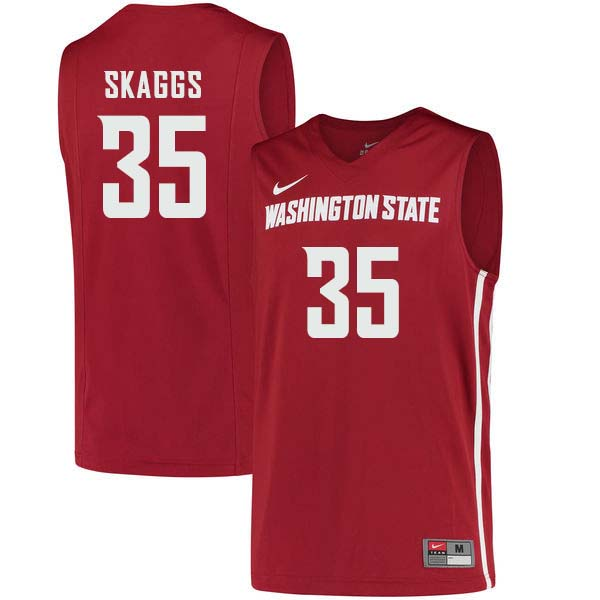 Men #35 Carter Skaggs Washington State Cougars College Basketball Jerseys Sale-Crimson