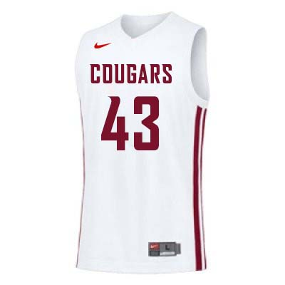 Men #43 Drick Bernstine Washington State Cougars College Basketball Jerseys Sale-White