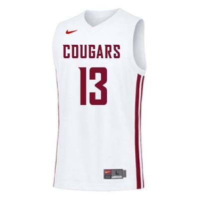 Men #13 Jeff Pollard Washington State Cougars College Basketball Jerseys Sale-White