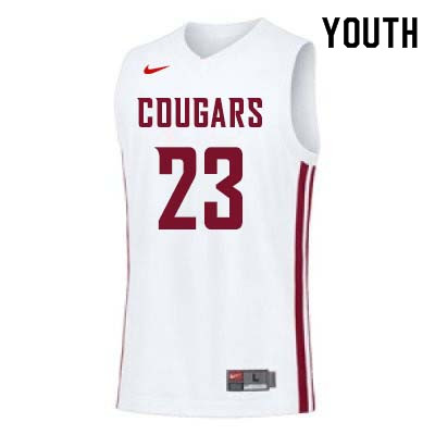 Youth #22 Isaac Fontaine Washington State Cougars College Basketball Jerseys Sale-White