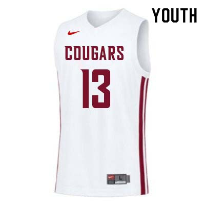 Youth #13 Jeff Pollard Washington State Cougars College Basketball Jerseys Sale-White