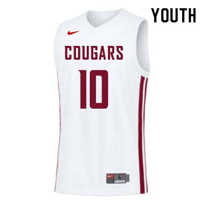 Youth #10 KJ Langston Washington State Cougars College Basketball Jerseys Sale-White
