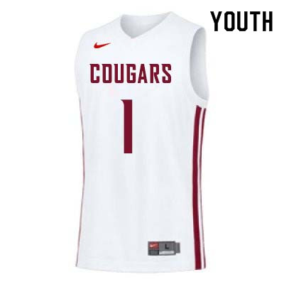 Youth #1 Klay Thompson Washington State Cougars College Basketball Jerseys Sale-White