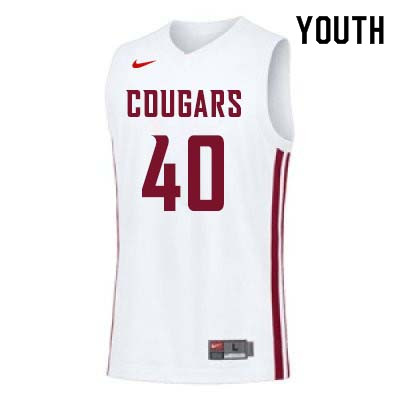 Youth #40 Kwinton Hinson Washington State Cougars College Basketball Jerseys Sale-White