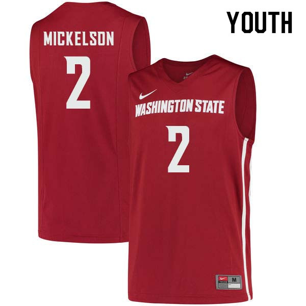 Youth #2 TJ Mickelson Washington State Cougars College Basketball Jerseys Sale-Crimson
