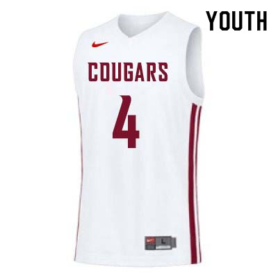 Youth #4 Viont'e Daniels Washington State Cougars College Basketball Jerseys Sale-White